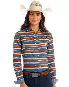 Rough Stock by Panhandle Women's Vintage Aztec Print Long Sleeve Western Shirt , Navy, hi-res
