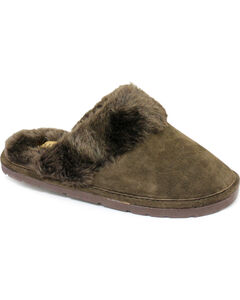 Women's Fleece Lined Scuff Slipper, Chocolate, hi-res