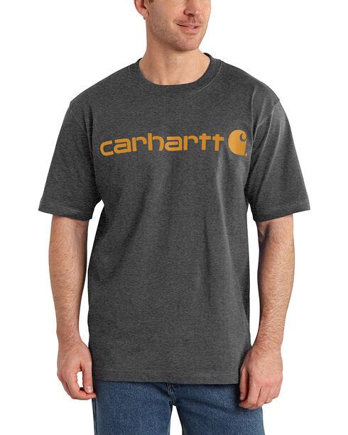 Carhartt Signature Logo Short Sleeve Shirt, Charcoal, hi-res