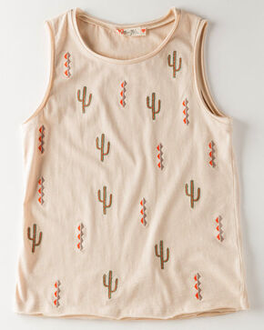 Miss Me Girls' Cactus Cool Tank , Taupe, hi-res