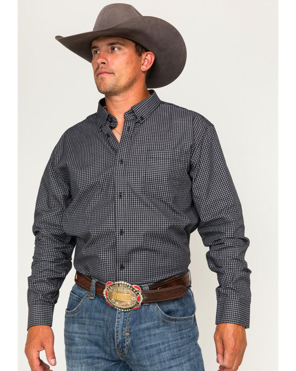 Cody James Core Men's Flankman Checkered Long Sleeve Shirt, Black, hi-res