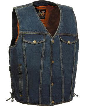 Milwaukee Leather Men's Side Lace Denim Vest w/ Chest Pockets - Big - 4X, Blue, hi-res
