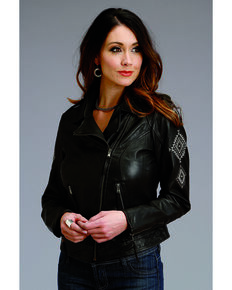 Stetson Women's Embroidered Motorcycle Jacket , Black, hi-res
