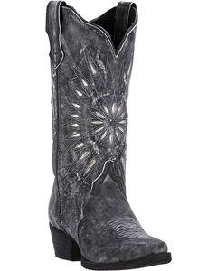 Laredo Women's Silver Starburst Cowgirl Boots - Snip Toe, Black, hi-res