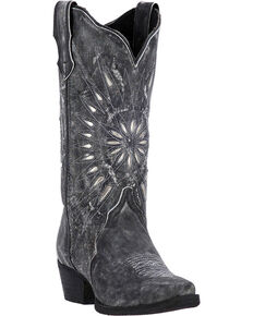 Laredo Women's Silver Starburst Cowgirl Boots - Snip Toe, Black, hi-res