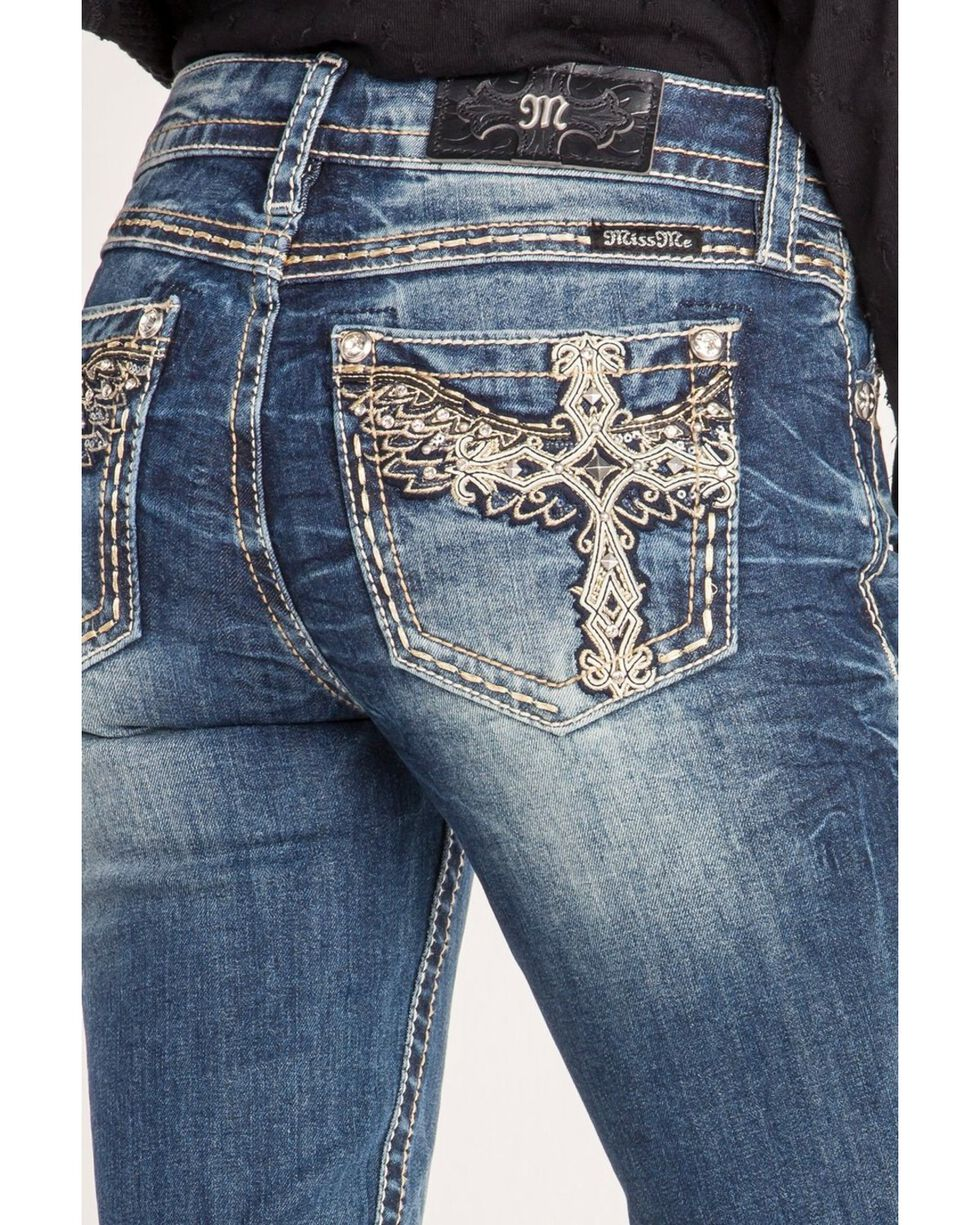 Miss Me Women's Winged Cross Skinny Jeans , Blue, hi-res