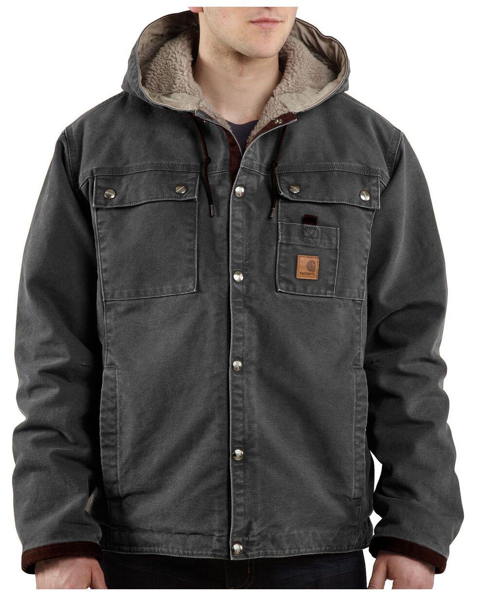 Carhartt Sandstone Hooded Sherpa-Lined Multi Pocket Jacket - Big & Tall, Grey, hi-res