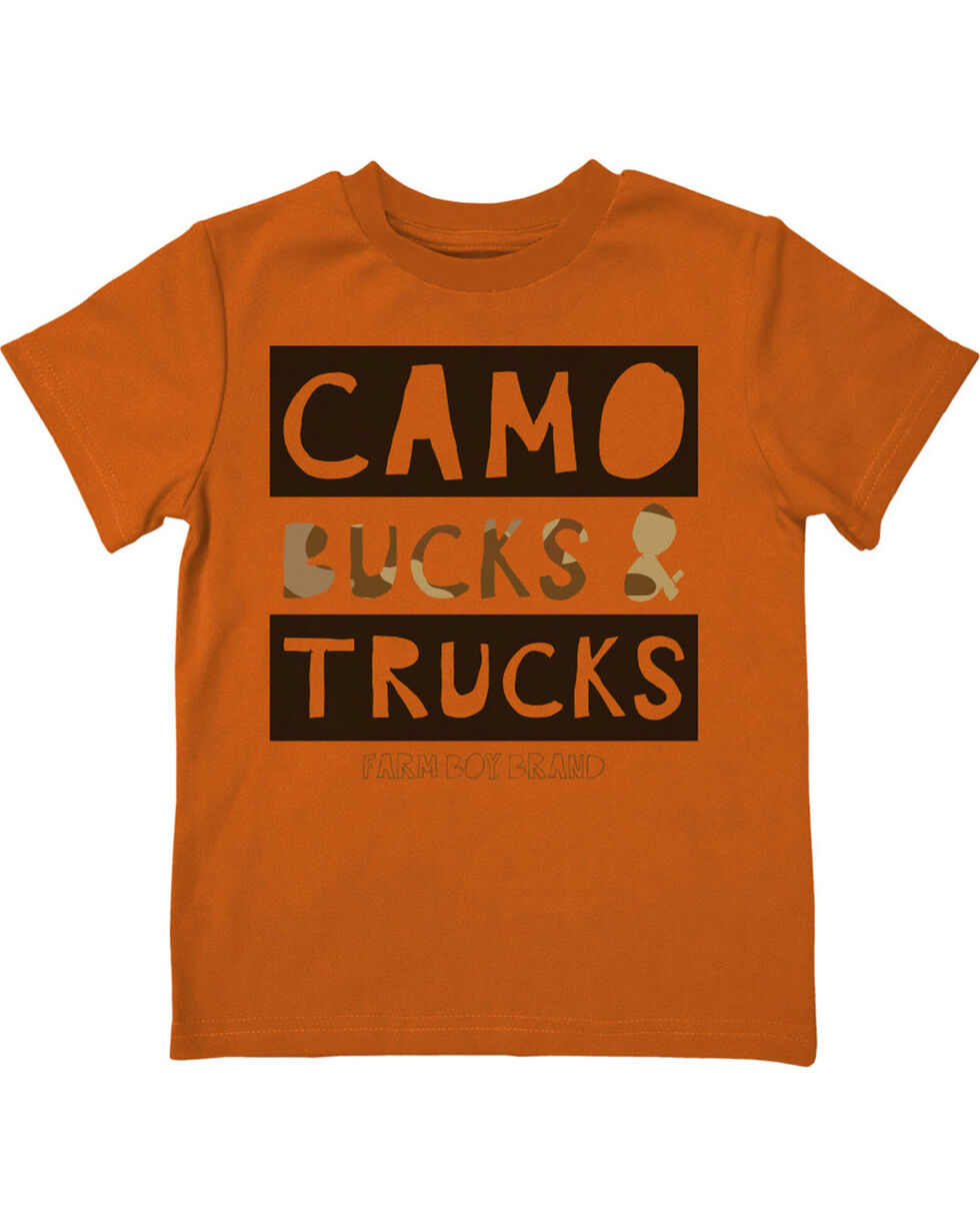 Farm Boy Boys' Camo Bucks &Trucks Tee, Orange, hi-res