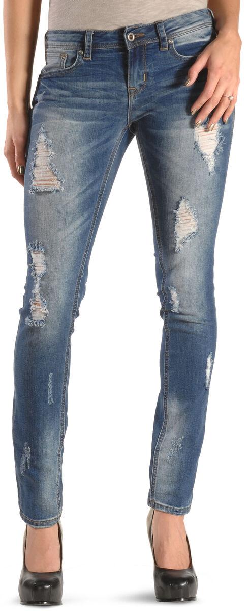 Grace in LA Women's Distressed Destructed Skinny Jeans, Denim, hi-res