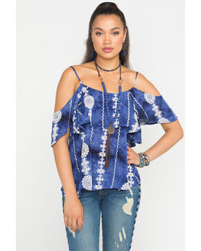 Miss Me Women's Aztec Tie Dye Cold Shoulder Top, Navy, hi-res