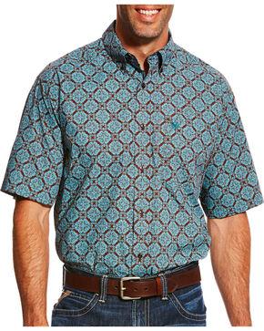 Ariat Men's Blue Norfolk Print Short Sleeve Shirt , Blue, hi-res