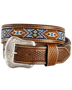 Nocona Men's Floral Beaded Western Belt, Tan, hi-res