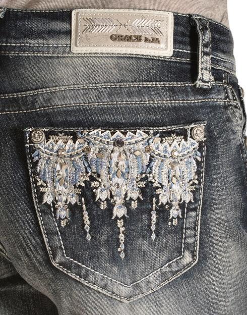 Grace in L.A. Women's Blue Crystal Capris, Denim, hi-res