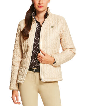Ariat Women's Chevron Quilted Commuter Jacket, Cream, hi-res