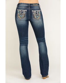"Miss Me Women's Medium Crescent Moon Dreamcatcher 32"" Chloe Bootcut Jeans, Blue, hi-res"
