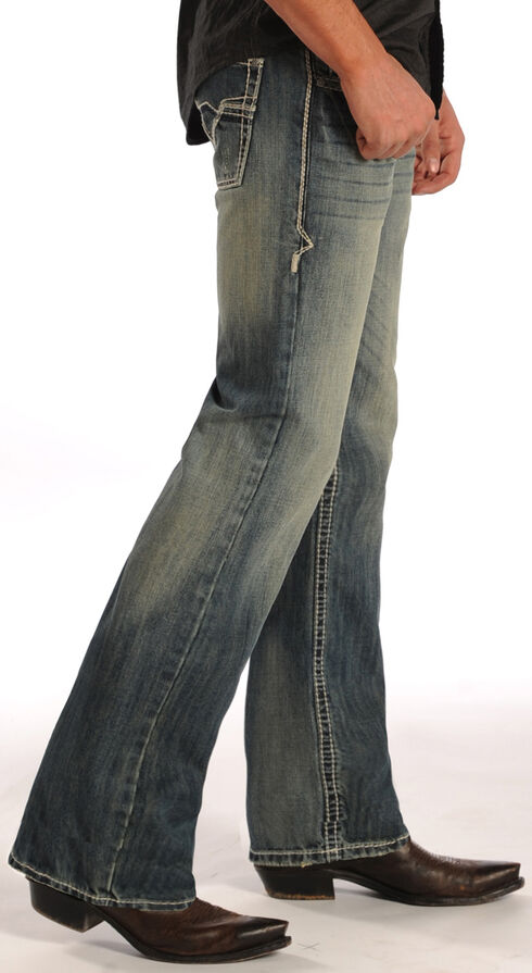 Rock and Roll Cowboy Pistol Ivory Embroidered Jeans - Straight Leg  , Denim, hi-res