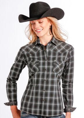 Rough Stock by Panhandle Slim Women's Vintage Lurex Plaid Western Shirt , Black, hi-res