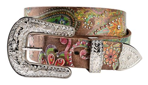 Nocona Floral Paisley Print Leather Belt, Brown, hi-res
