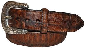 Roper Men's Cognac Tail Gator Print Belt, Cognac, hi-res