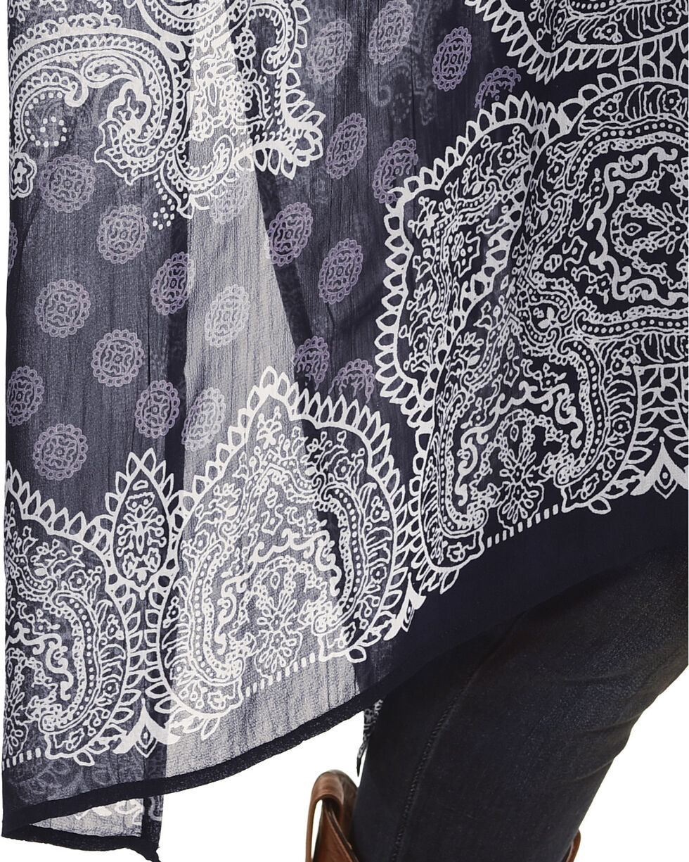 Bila Women's Navy Medallion Printed Kimono , Navy, hi-res