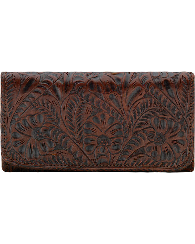 American West Women's Annie's Secret Tri-Fold Wallet , Brown, hi-res