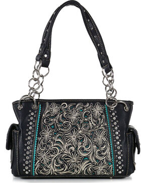 Shyanne Women's Floral Concealed Carry Handbag, Black, hi-res