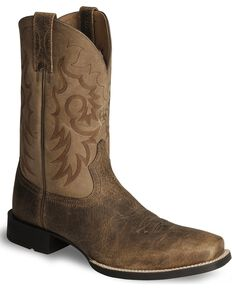 Ariat Heritage Reinsman Cowboy Boots Square Toe Earth Hi Res