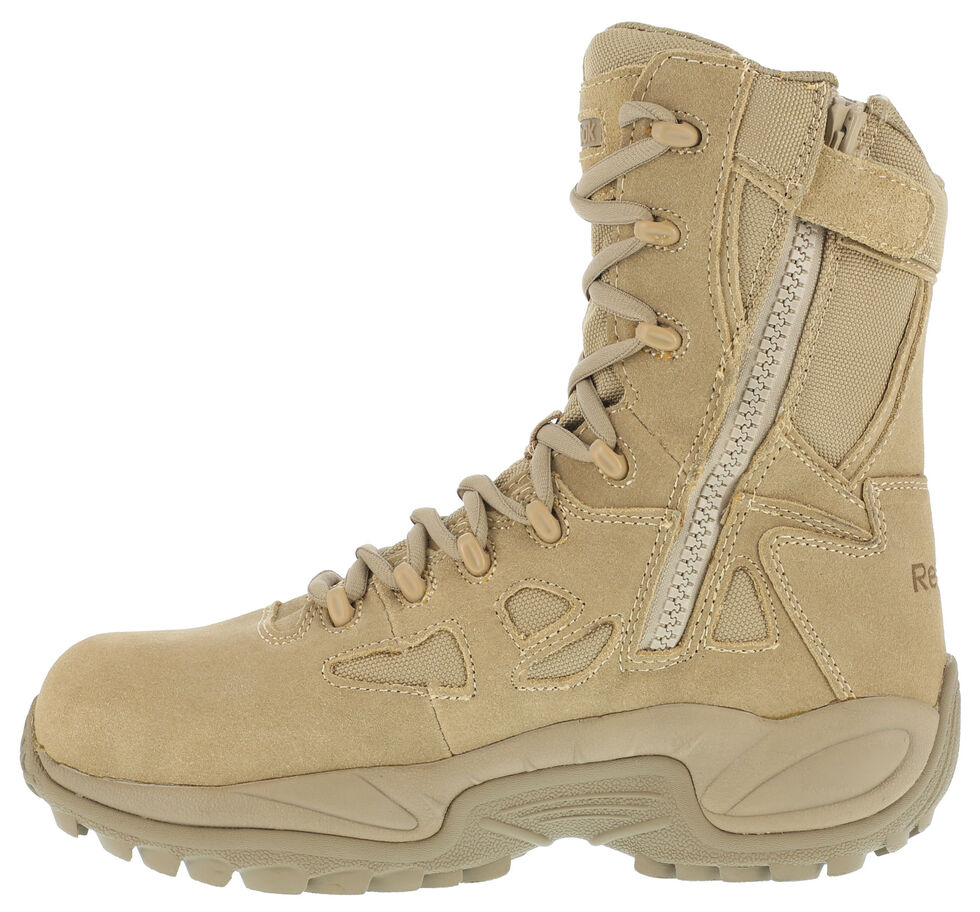 "Reebok Women's Stealth 8"" Lace-Up Side-Zip Work Boots - Composite Toe, Desert Khaki, hi-res"