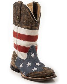 Roper Boys' American Flag Cowboy Boots - Square Toe, Brown, hi-res