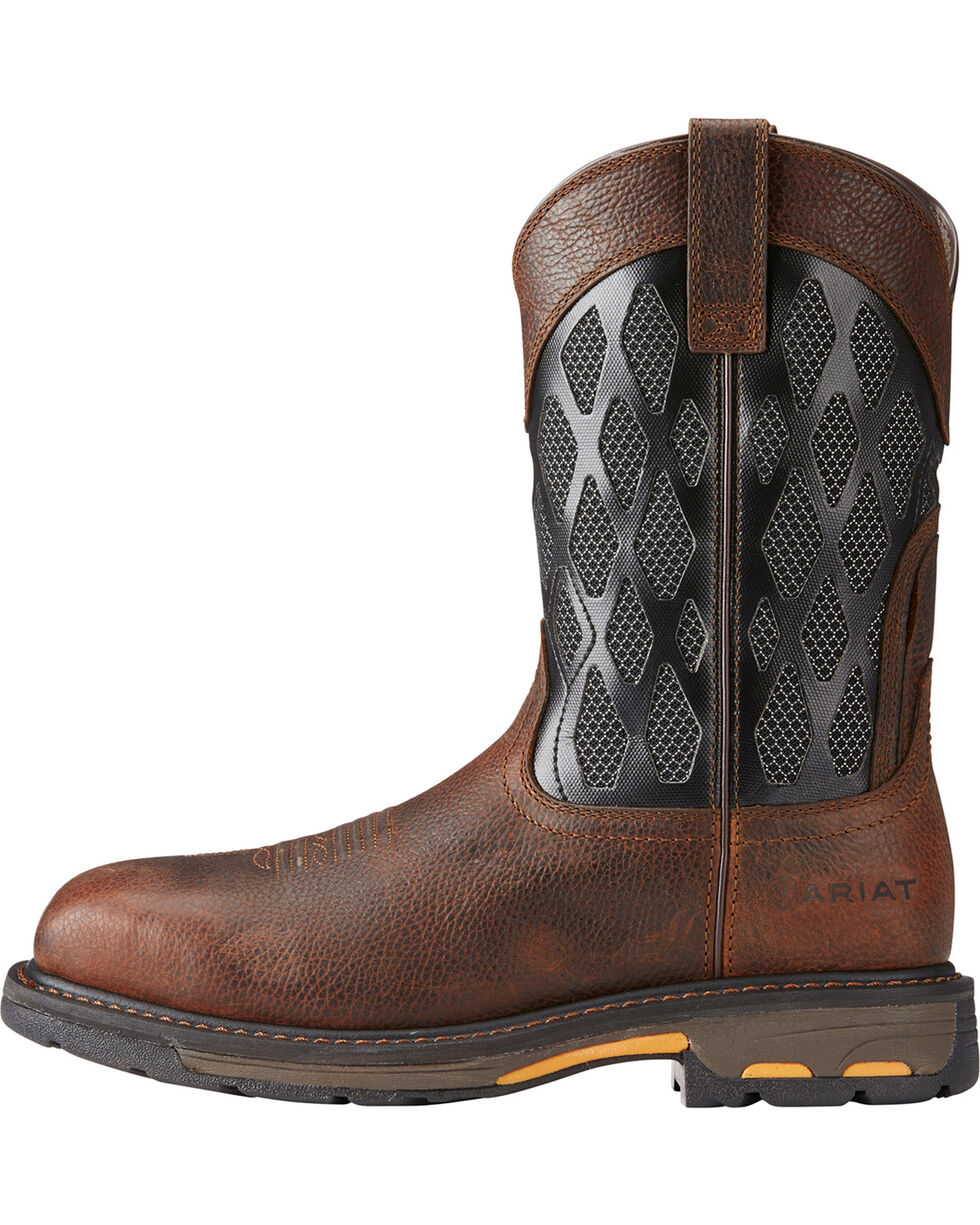 Ariat Men's Brown Workhog VentTek Matrix Boots - Square Toe , Brown, hi-res