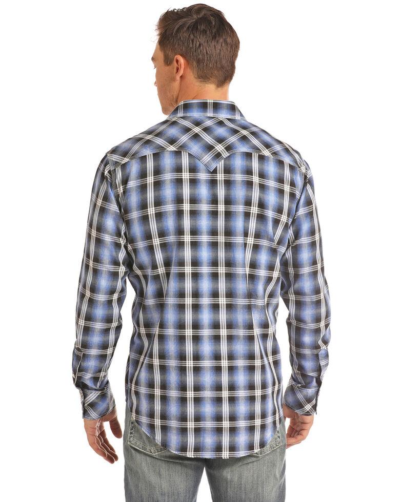 Rock & Roll Denim Men's Blue Large Crinkle Plaid Long Sleeve Western Shirt - Big , Blue, hi-res