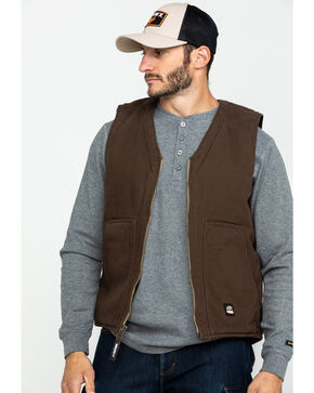 Berne Washed V-Neck Vest, Bark, hi-res