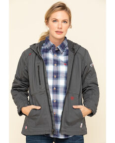 Ariat Women's Iron Grey FR Duralight Stretch Canvas Jacket , Steel, hi-res