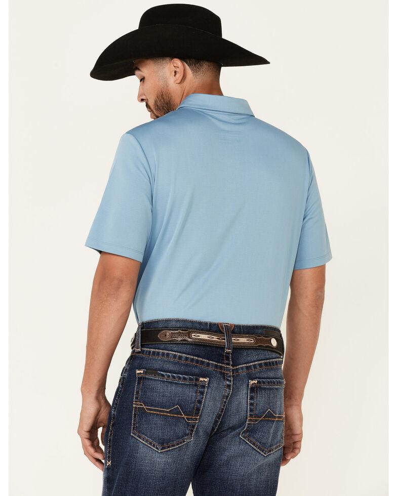 Rock & Roll Denim Men's Solid Blue Short Sleeve Polo Shirt , Light Blue, hi-res