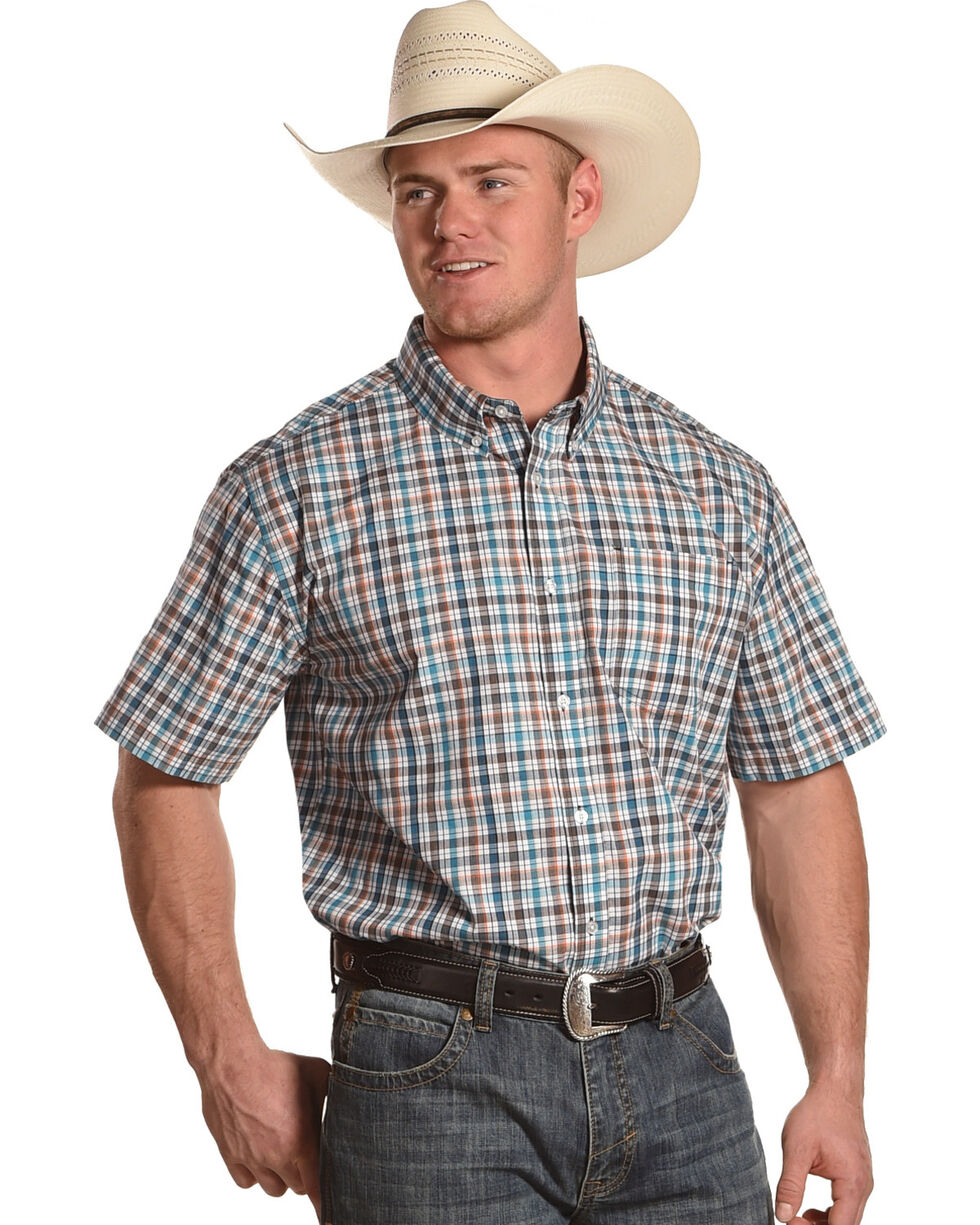 Cody James Men's Frisco Plaid Short Sleeve Shirt - Big & Tall, Blue, hi-res