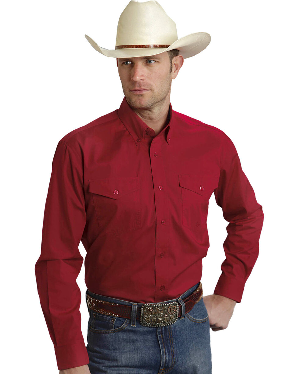 Roper Amarillo Collection Solid Red Western Shirt, , hi-res