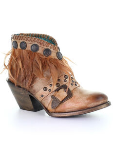 Corral Women's Cognac Conchos & Feathers Fashion Booties - Round Toe, Cognac, hi-res