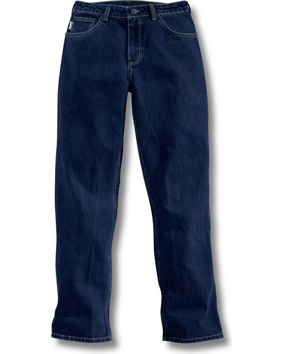Carhartt Women's Flame-Resistant Relaxed Fit Denim Jeans - Straight Leg , Navy, hi-res