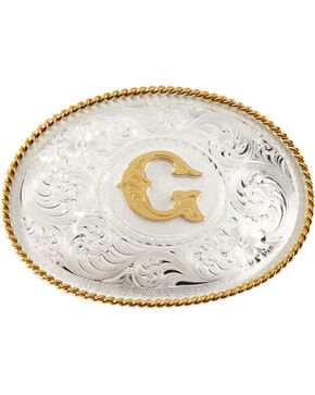 "Montana Silversmiths Initial ""G"" Buckle, Silver, hi-res"
