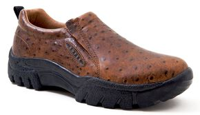 Roper Performance Ostrich Print Slip-On Shoes - Round Toe, Light Brown, hi-res