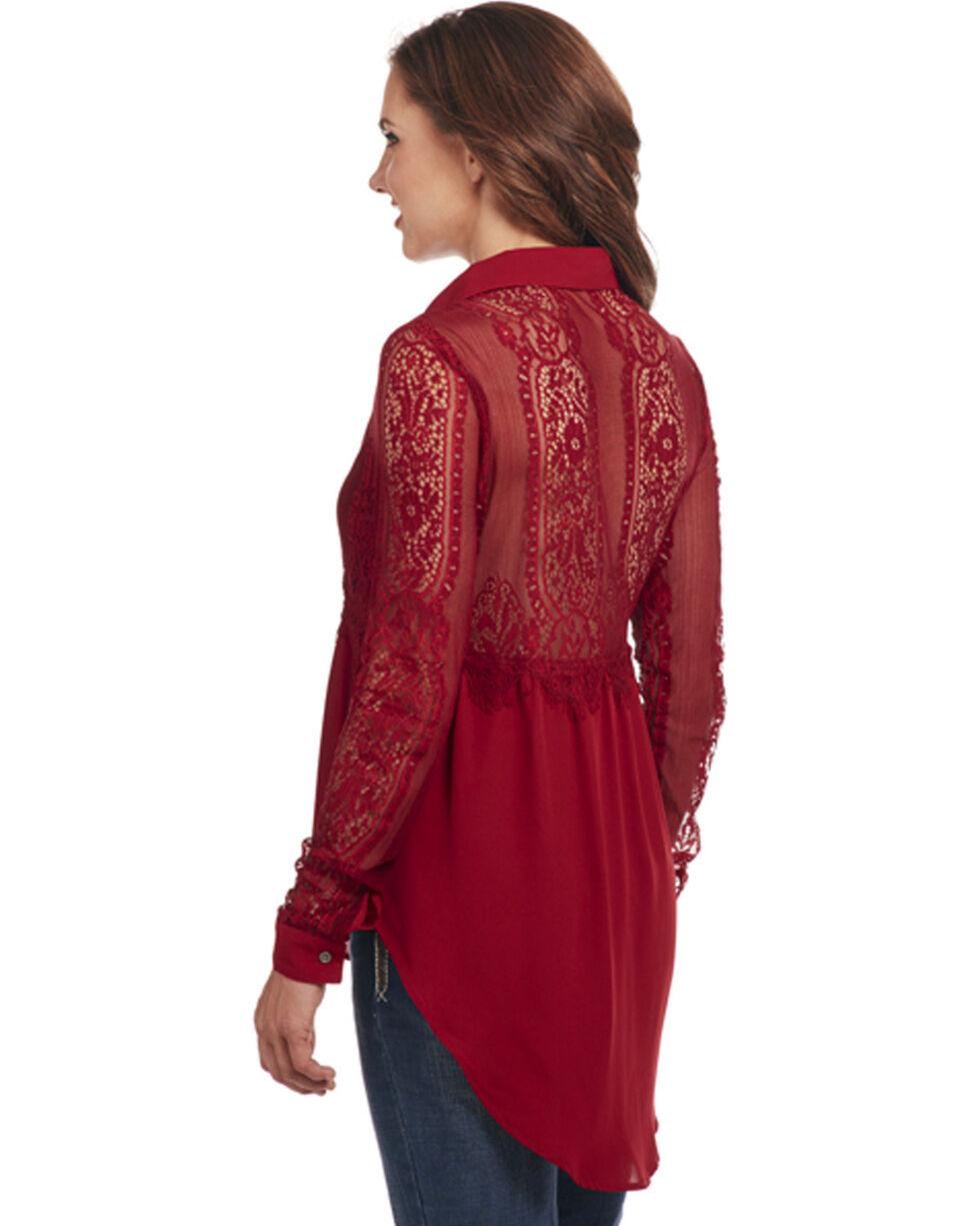 Cowgirl Up Women's Long Sleeve Lace Blouse, Dark Red, hi-res