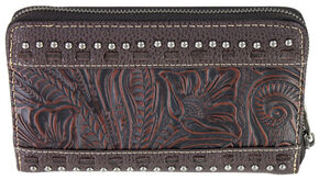 Montana West Trinity Ranch Coffee Tooled Design Wallet, Brown, hi-res