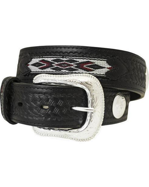 Western Express Men's Black Aztec Design Leather Belt , Black, hi-res