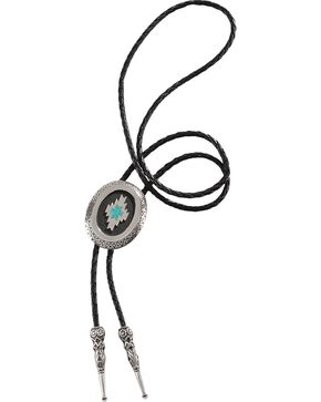 Aztec Inspired Turquoise Inlay Bolo Tie, Multi, hi-res