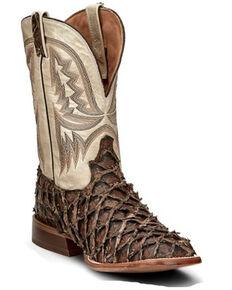 Tony Lama Men's Hatfield Exotic Pirarucu Western Boots - Wide Square Toe, Brown, hi-res