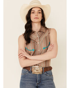 Panhandle Women's Retro Textured Stripe Sleeveless Snap Western Core Shirt , Brown, hi-res