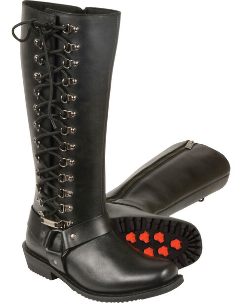 "Milwaukee Leather Women's 14"" Full Lacing Classic Harness Boots - Square Toe - Wide, Black, hi-res"