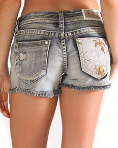 Grace in LA Women's Camo Denim Shorts, Blue, hi-res