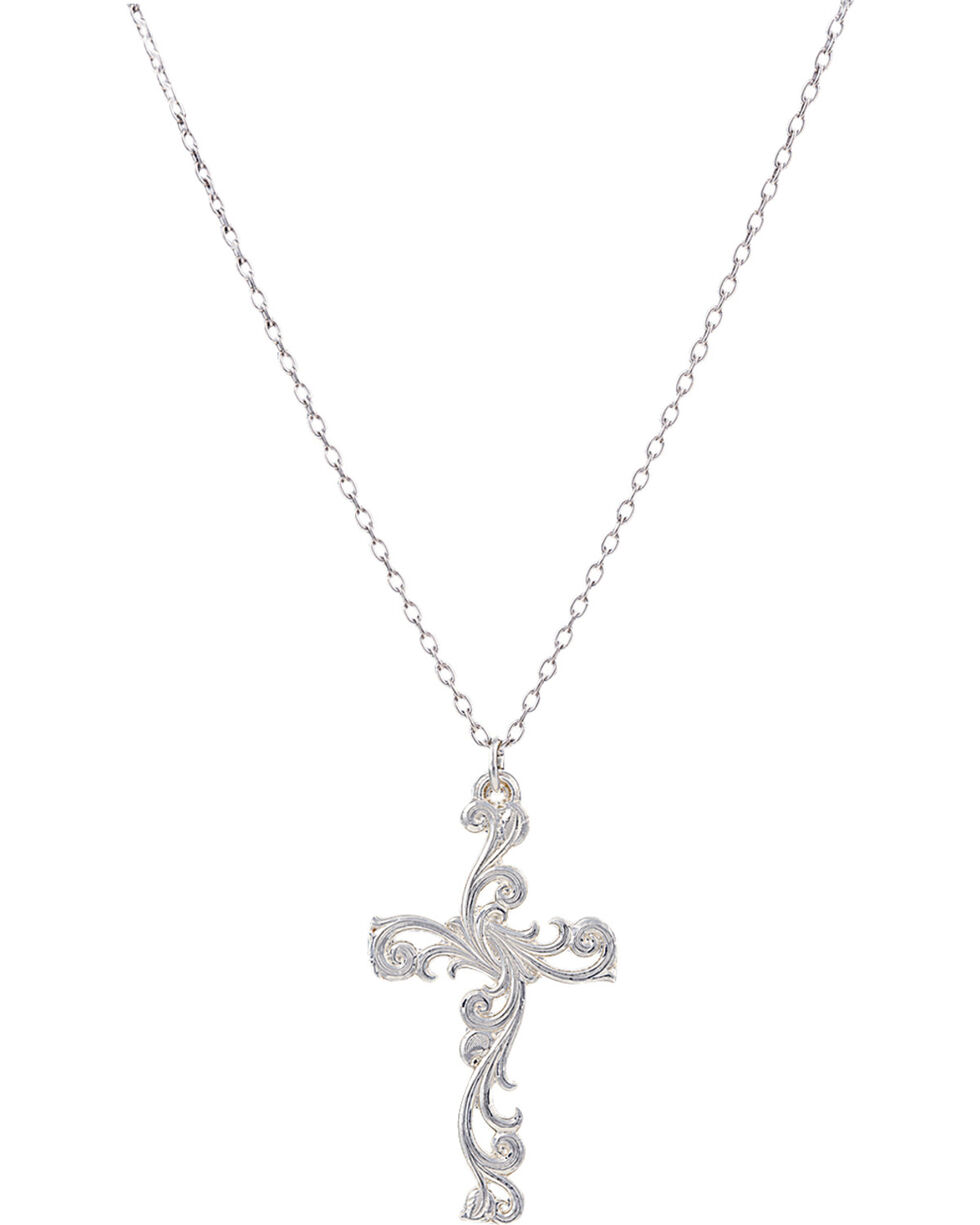 Montana Silversmiths Women's Filigree Silver Cross Necklace, Silver, hi-res