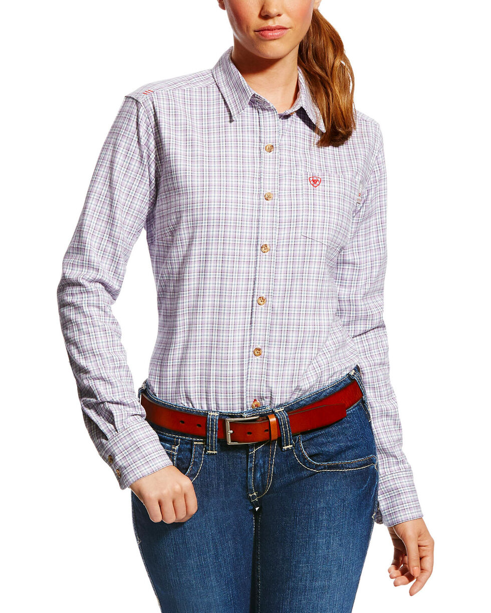 Ariat Women's FR Marion Plaid Work Shirt, Purple, hi-res